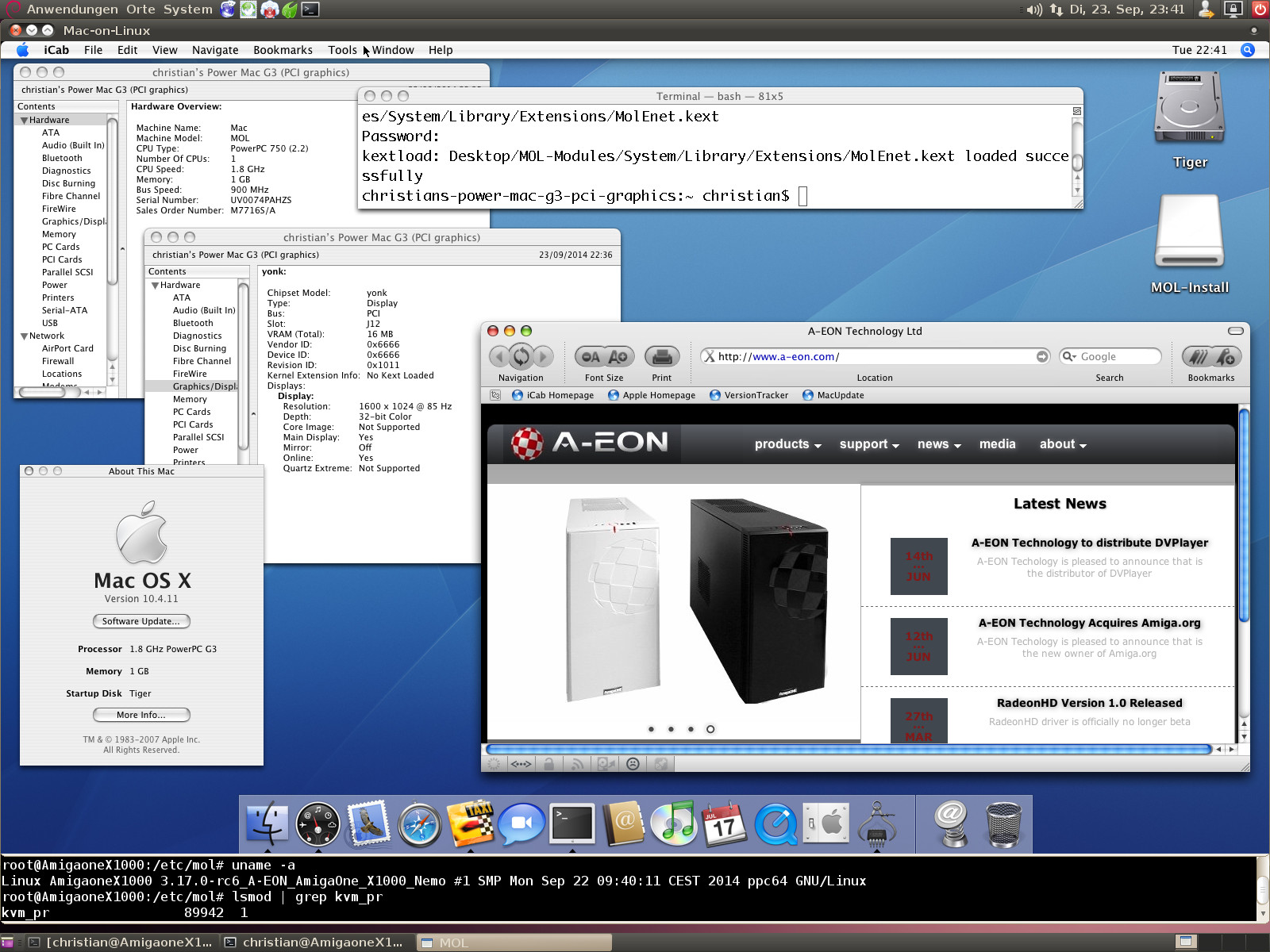 PPC] A new Mac-on-Linux version with KVM support is